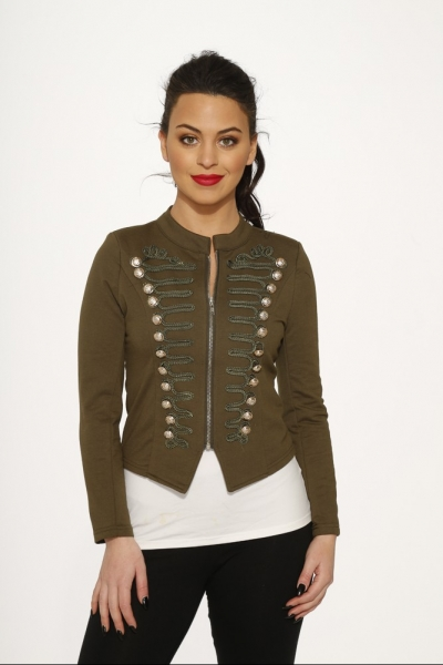 19f609b38ec6d C6169 Plus Size Olive Military Jacket - Hearts   Roses USA